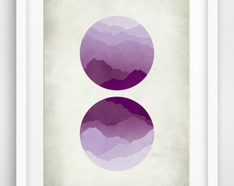 Purple Mid Century Modern Poster, Large Wall Art, Mountains, Geometric Art
