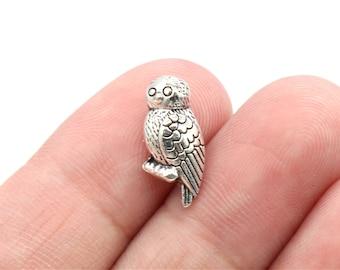 8 Pcs Owl Beads Bird Beads Spacer Beads Antique Silver Tone 12x7mm - B42