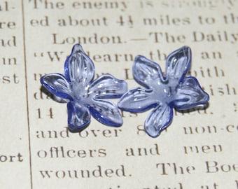 Large open flower blue periwinkle acrylic 29x12mm