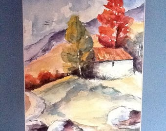 """hills"": watercolor inspired by Guy Covelli"