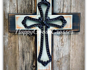 Wall Cross - Wood Cross - Small - Rustic Antiqued Black and Gray, with large black iron cross