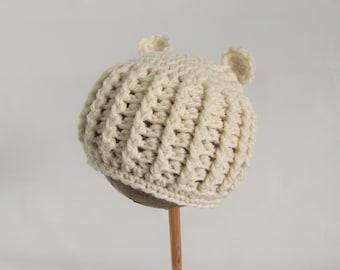 Little Bear newborn wool hat - organic wool - ribbed beanie - baby hat - cream bear ears hat
