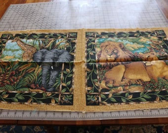 21 Cranston quilt or pillow squares...a lion and giraffe  21