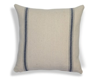Farmhouse Grain sack decorative pillow cover with navy blue stripes many sizes of grain sack pillow available for your home decor