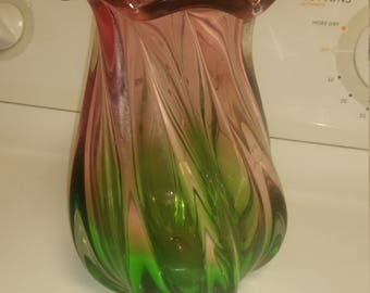 Green and pink swirl glass vase