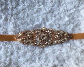 SALE BRIDAL SASH, Bridal sash, rose gold belt, Bridal crystal belt, Rhinestone belt, Wedding sash/belt Bridesmaid belt Dress Sash/Belt