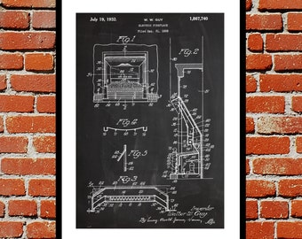 Electric Fireplace Patent, Fireplace Poster, Fireplace Blueprint,  Fireplace Print, Fireplace Art, Fireplace Decor