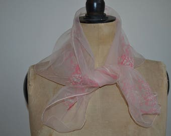 vintage scarf, sheer, light weight, pale pink, 1950s, cute kittens and puppies.