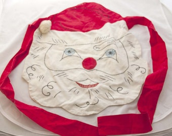 Vintage children's handmade Santa apron - 1940s