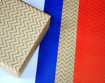 Christmas wrapping paper set of 2 - Zig zag gift wrapping paper - White gift wrap - Blue gift wrap - Red gift wrap - Handmade wrapping paper