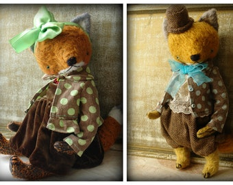 PDF Epattern for 11 inch Artist Teddy Fox Mr Henry and Fox Mary - the patterns for the clothes are included - by Sasha Pokras