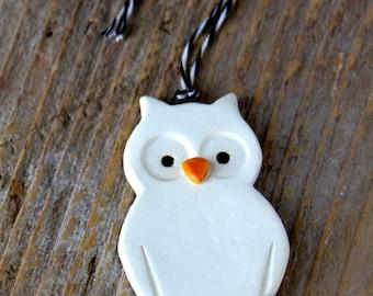 Owl Ornament - Handmade Pottery - Custom Made Ships in 1-2 weeks
