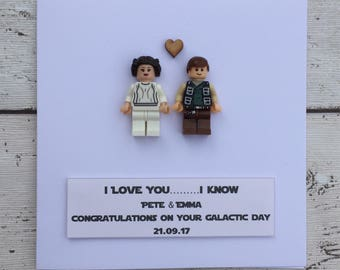 Personalised Unique Star Wars Inspired Wedding Engagement Anniversary card ft Princess Leia & Han Solo mini-figures