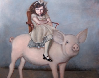 Piggyback Ride. Signed Print of an Original Oil Painting
