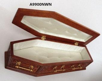 Coffin WN wood top Dollhouse miniature 1:12 scale fit Heidi Ott dolls funeral