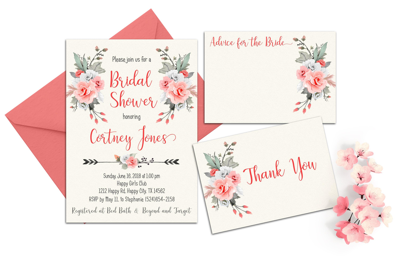 Pink Boho Bridal Shower Invitation Romantic Roses Bridal