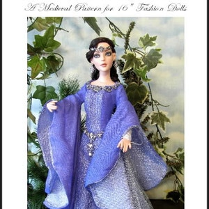 GUINEVERE  EL pattern for 16 inch dolls Ellowyne Wilde, Thea , Prudence a Classic Medieval Gown for a Regal Lady