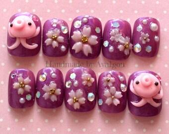 Nails, octopus, squid, 3D nails, short nail, sakura, cherry blossom, Japanese, nail art, nail set, party nails, press on nails, Harajuku