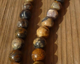 10 pearls tree petrified or fossilized colorful tree, 12 mm/10 petrified tree pearls gold multicolored fossilized tree, 1.2 cm