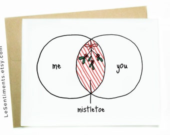 Funny Mistletoe Christmas Card - Christmas Card - Mistletoe - Merry Christmas Greeting Card - Funny Christmas