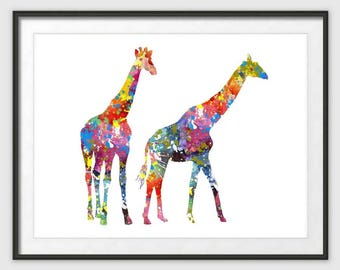 Digital Download,Giraffe Art Print, Giraffe Decor,  Giraffe Watercolor Art, Giraffe, Giraffe Wall Decor