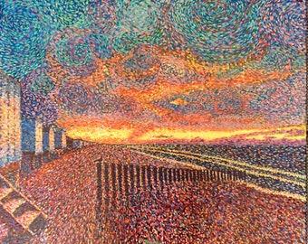 Sunset Calais. France. Oil, canvas, pointillism, neo-impressionism, art, artist, Igor Tomaily