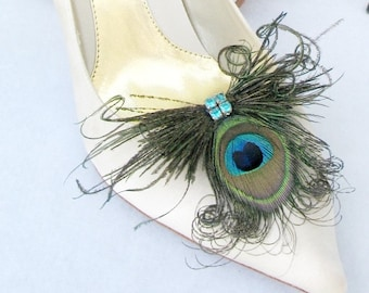 Peacock Feathers And Rhinestones Shoe Clips