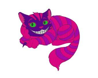 Cheshire Cat - Embroidery Design - Alice in Wonderland - 4x4, 6x6, 8x8, 10x10