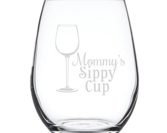 Stemless White Wine Glass-17 oz.-7844 Mommy's Sippy Cup