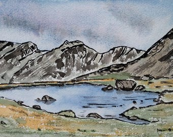 The Scafells, Original, Mounted watercolour and ink painting, Lake District, Art