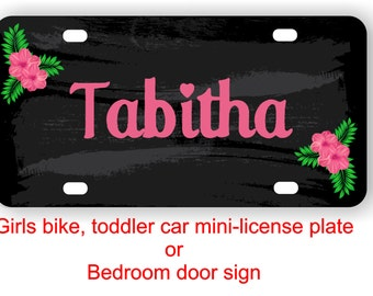 Personalized girls mini license plate for bike, toddler car, Kids gift, Girls bedroom door sign, Bike name plate - MINILICENSE
