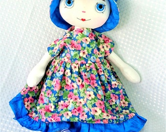 Doll, cloth fabric doll,  unique doll handmade, OOAK. 2 outfits in blue.
