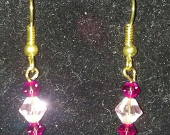 Pink with Purple Swarovski Crystal Earrings