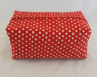 Toiletries Box Bag-Red with White Polka-Dots
