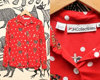 Red Polka Dot Sailor Blouse // Womens Long Sleeve Nautical Silky Preppy Top Size Medium JH Collectibles