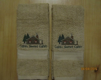 NEW 2 Cabin Sweet Cabin Tan Hand Towels. Lodge Towels, Northwoods, Cabin Decor