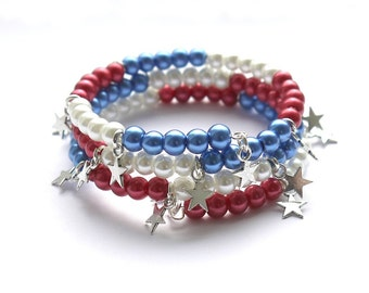 Red, White and Blue adult memorywire bracelet