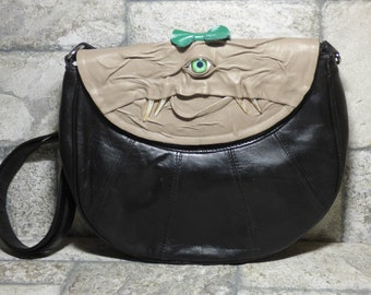 Cross Body Adjustable Purse With Face Monster Black Leather Unique Gift 446
