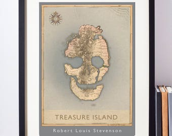Treasure Island alternative book cover print. Original art celebrating this classic adventure novel by Louis Stevenson. A3, A4 or A5