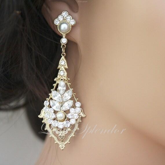 Art deco bridal earring gold wedding earrings rhinestone aloadofball Images