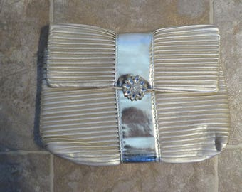 """Pleated Clutch, GOLD PVC/Polyester, 10"""" Wide, 7"""" Depth (#20J)"""