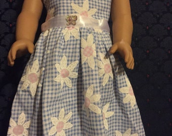 "18"" Doll Clothes Dress blue daisy fits American Girl Doll"