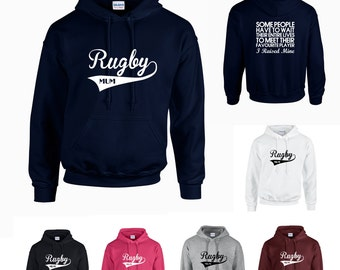 Rugby Mum Adults Hoodie Hooded Sweatshirt - Funny/Sport/Support/Superfan- Print on Front and Back