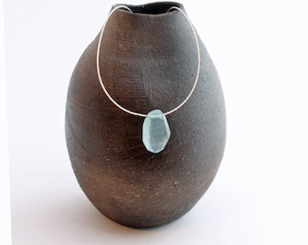 faceted aquamarine necklace w/ delicate sterling silver or gold-filled chain, aquamarine & sterling silver, March birthstone