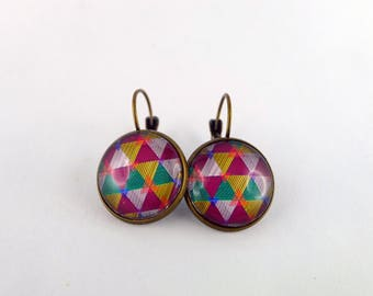 """""""Multi triangle"""" Stud Earrings cabochon and bronze"""
