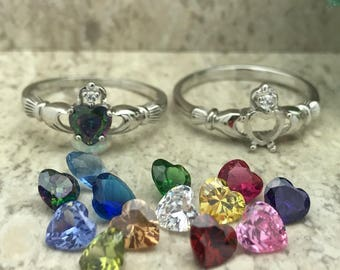 Rainbow Topaz CZ Claddagh Ring, 925 Sterling Silver Claddagh Ring with Simulated Rainbow Topaz CZ,Irish Claddagh Ring, Ring, Engagement Ring