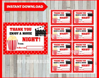 50% OFF Redbox Gift Card instant download , Printable Redbox Enjoy a Movie Night cards