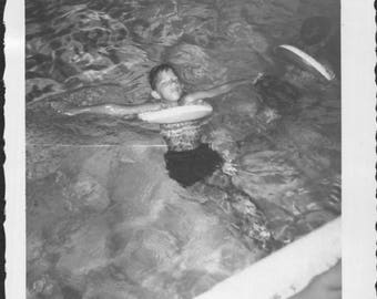 Vintage Snapshot Photo of Boy Floating in Swimming Pool 1960's, Original Found Photo, Vernacular Photography