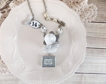 Shabby Cottage Chic Romantic Frozen Charlotte Mixed Media Assemblage Rhinestone Statement Necklace