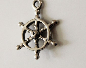 Ships Wheel Sterling Silver Charm